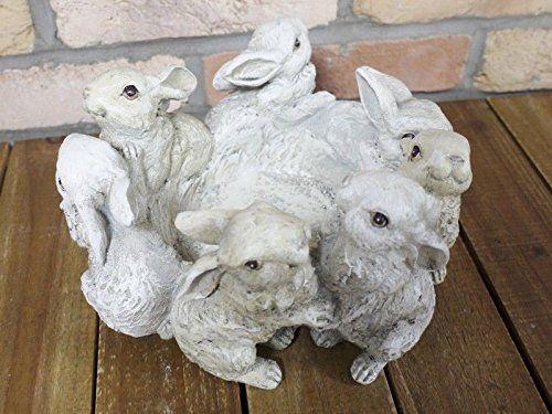 Dancing Rabbits Garden Planter Flower Pot Statue Sculpture Outdoor Ornament 26cm: Amazon.co.uk: Kitchen & Home