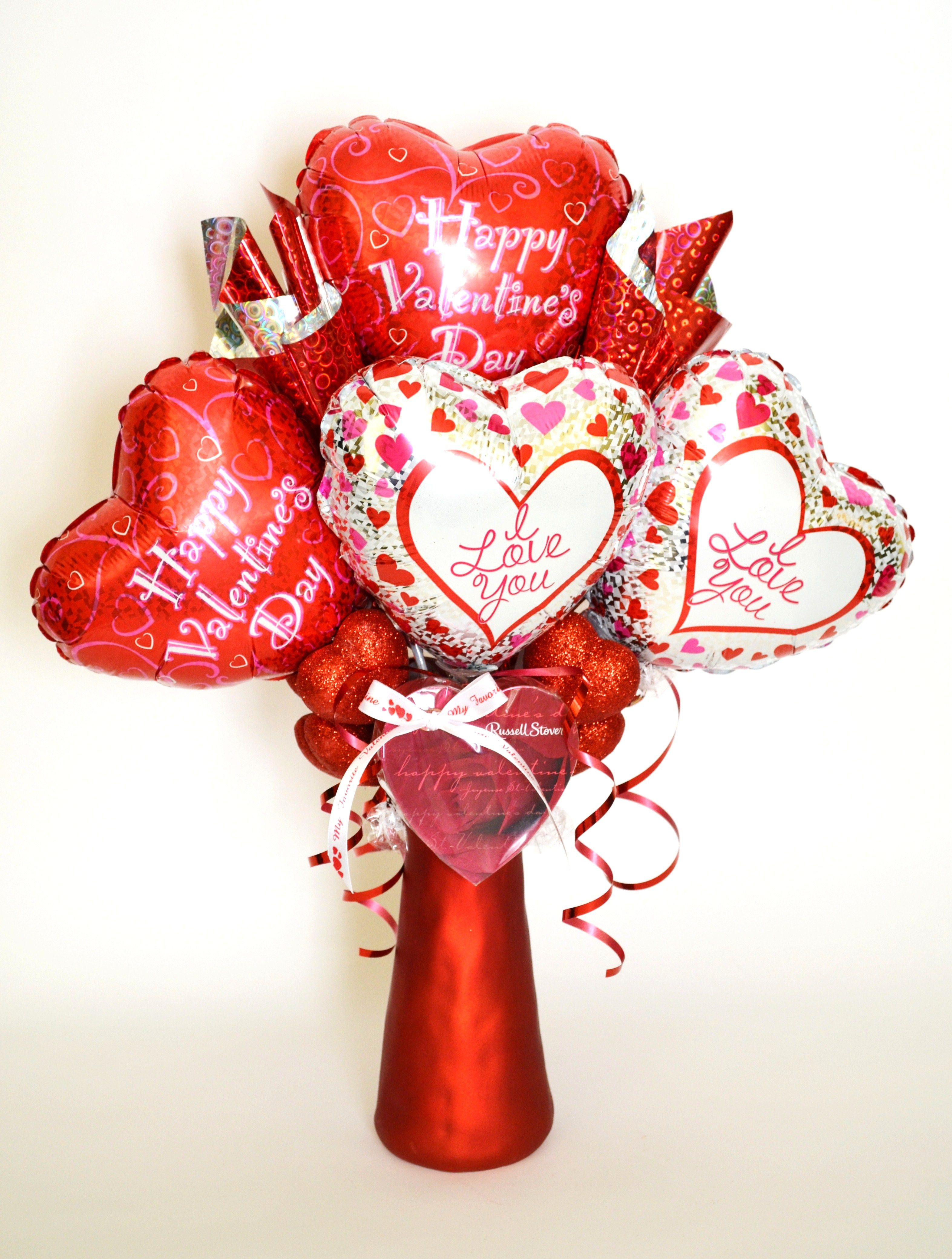 Balloons And Chocolates Valentine S Day Bouquet Valentines Balloons Valentine Baskets Valentine Gifts