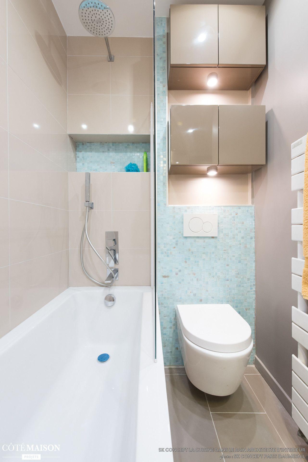 Salle de bain concept gain de place avec du mobilier design ...