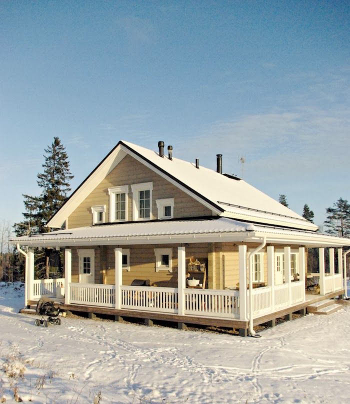log cabin, log home, winter, snow, hirsitalo, log house