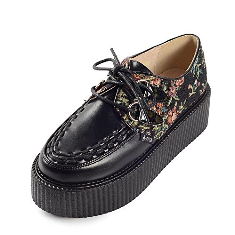 Bottines Femme Talon Compensé Plateforme Flats CREEPERS Derbies Noir Punk Goth Lace Up Chaussures