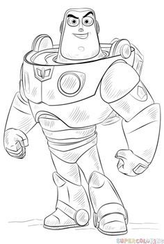 How To Draw Buzz Lightyear Step By Step Drawing Tutorials Cartoon Drawings Disney Toy Story Coloring Pages Cartoon Drawing Tutorial