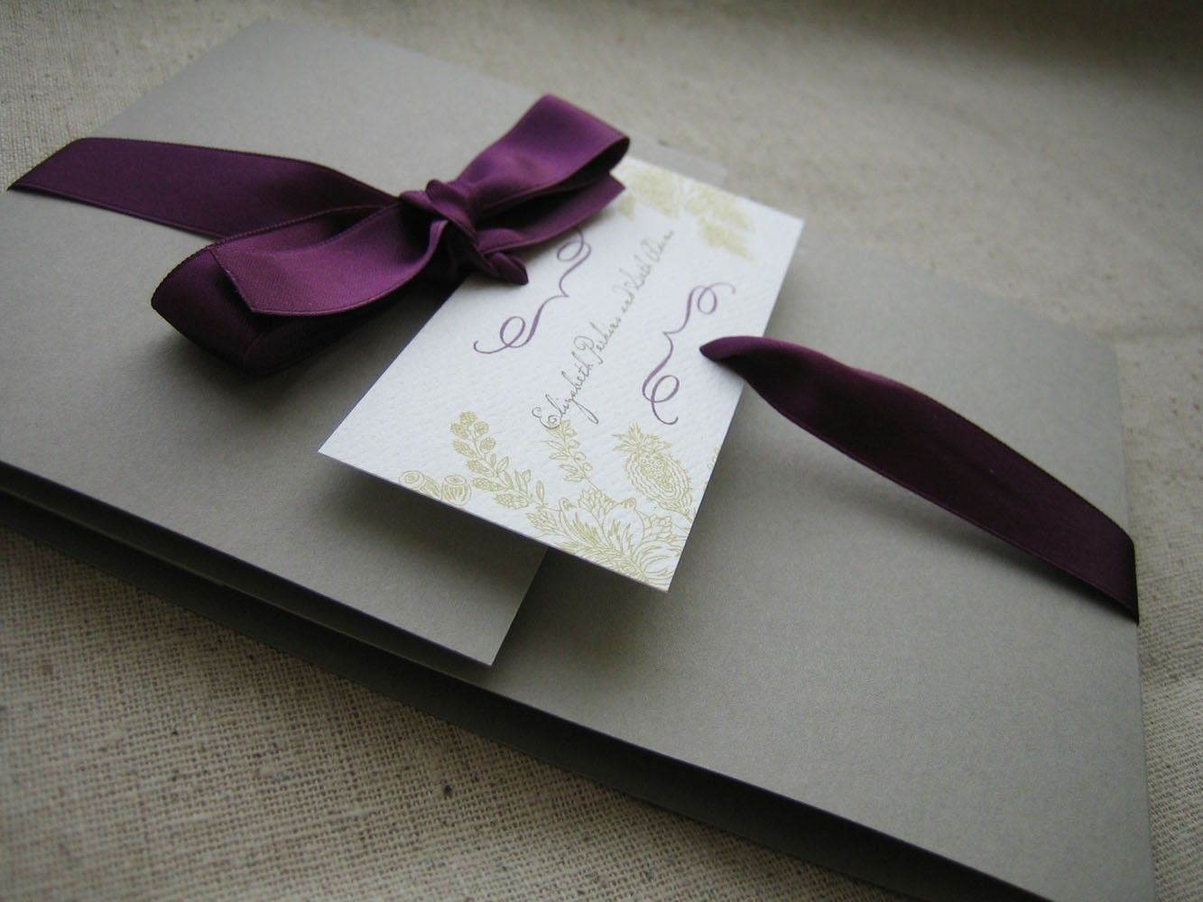 floral branch pocketfold invitation reserved by kissandtellcards