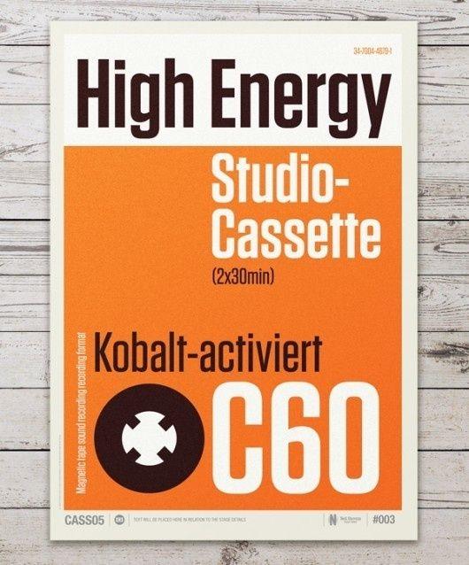 Audio Cassette Posters by Neil Stevens #typography #helvetica #swiss