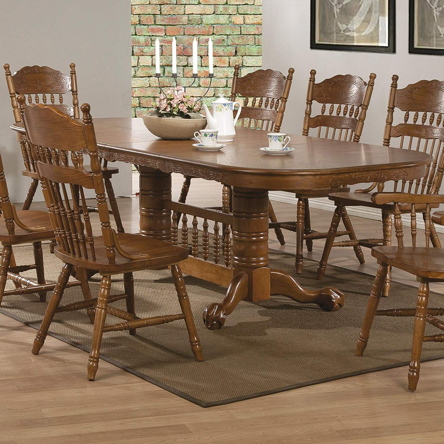 Coaster 104271 Co Brooks Oval Dining Table Medium Oak With