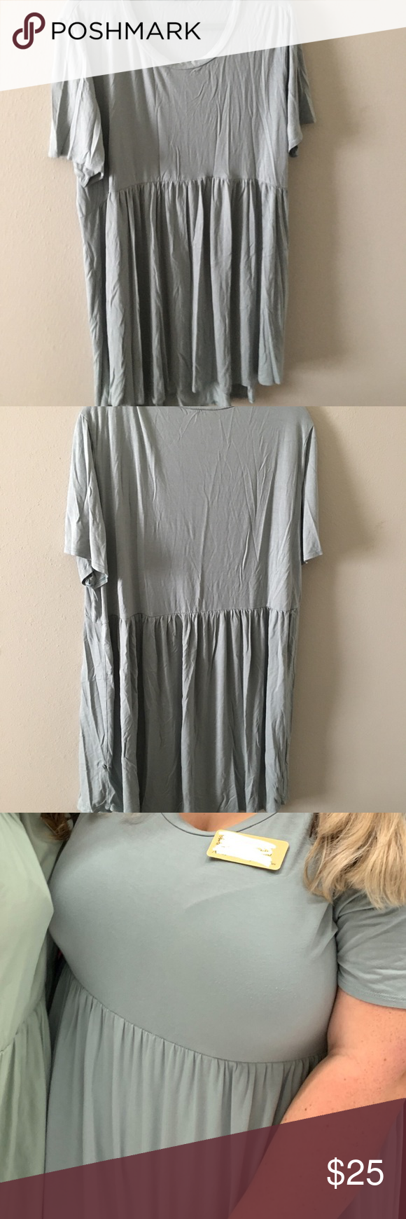 Sage Green Soft Dress Very soft and comfortable sage green dress. I am seen wearing (last photo). Worn once. Jersey/super soft material. Gathered under the bust for super flattering figure. From a boutique.  Bust: 25 Dresses #sagegreendress