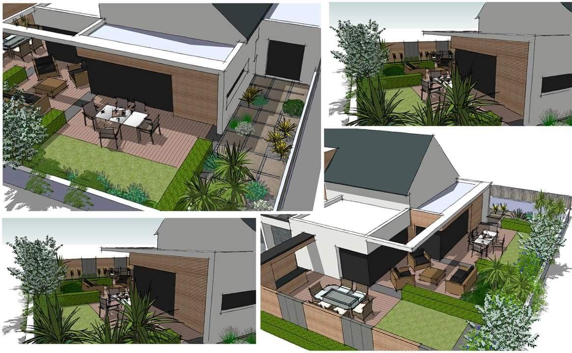 Etude d\'aménagement d\'un jardin pour une maison contemporaine ...