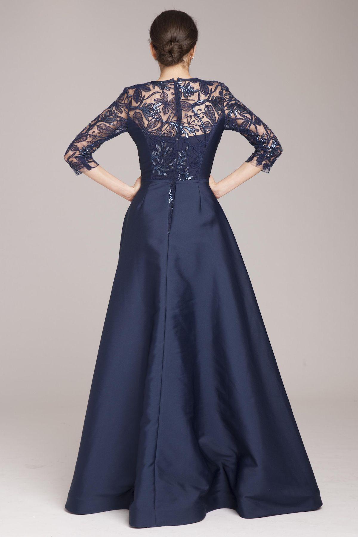 Wedding dress shops in deira dubai  Lace Gown with Taffeta Overlay  Teri Jon  moda fashion  Pinterest