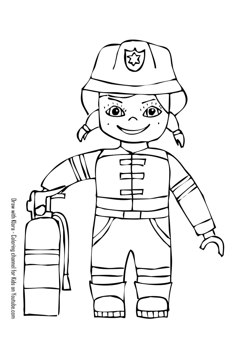 Firewoman Coloring Page Coloring For Kids Easy Drawings Drawing Tutorials For Kids