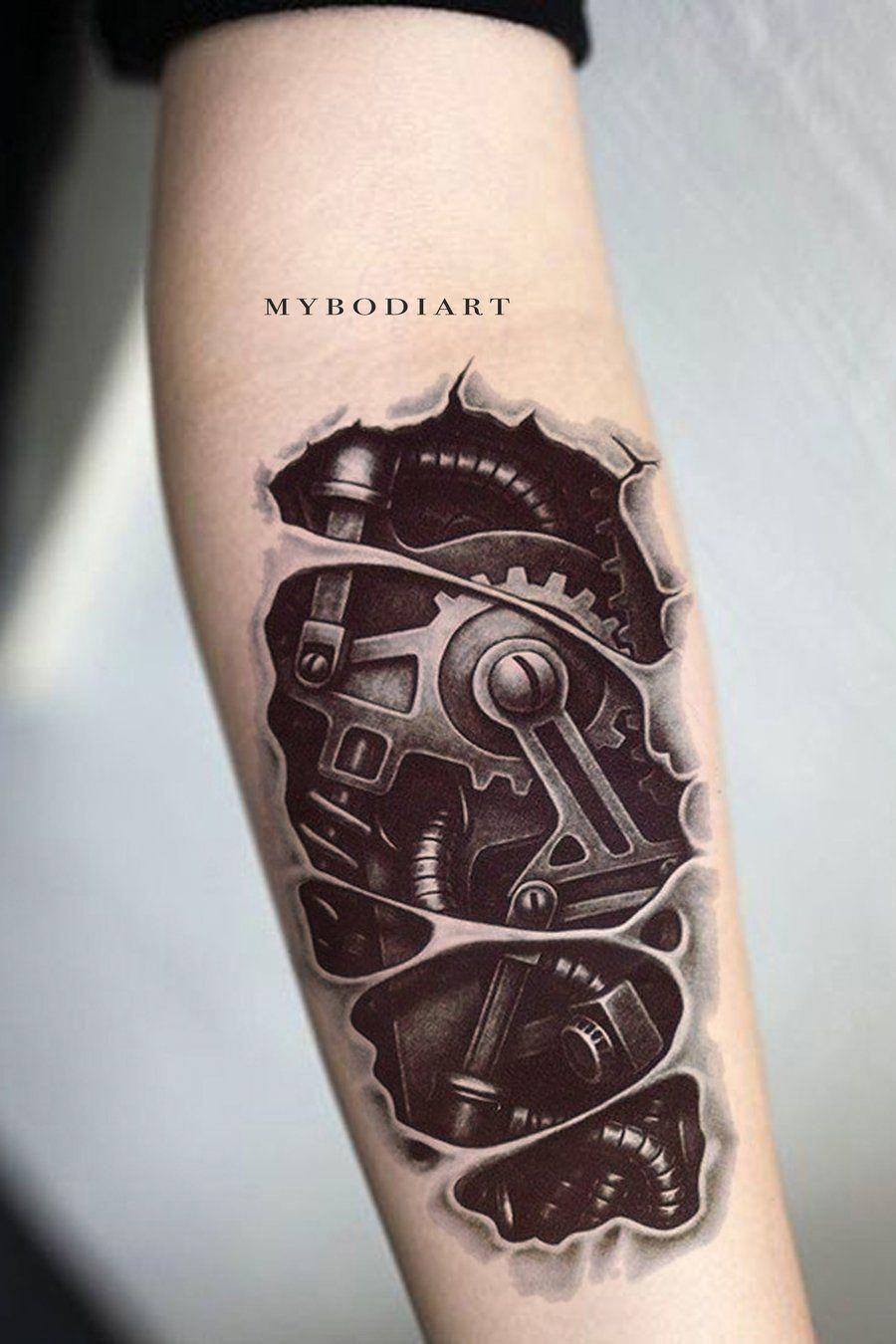 Cyb bionic robot temporary tattoo tattoos full sleeve