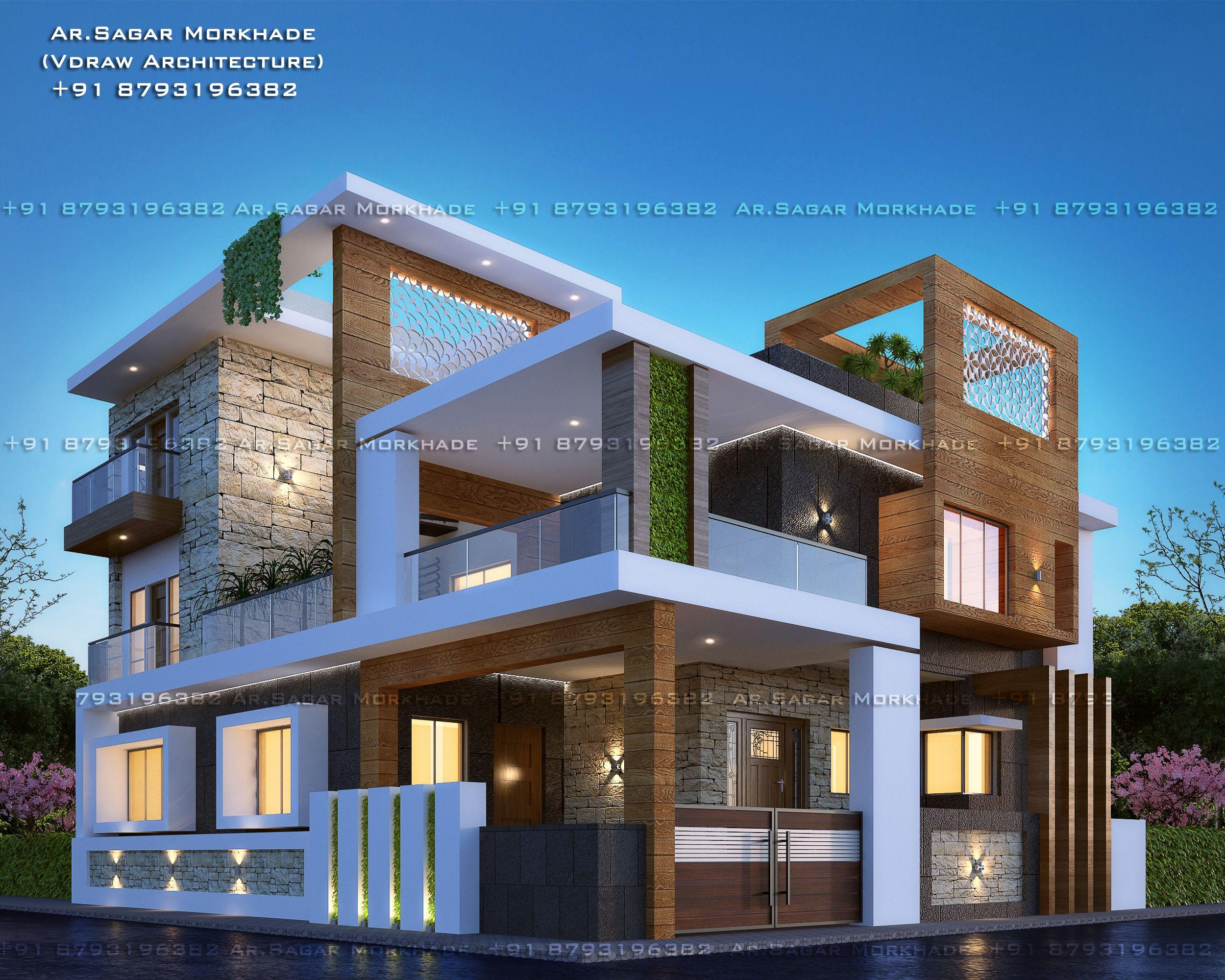 Contemporary Modern Residential House Bungalow Modern Architecture Exterior By Ar Sagar Mor House Front Design Duplex House Design House Designs Exterior