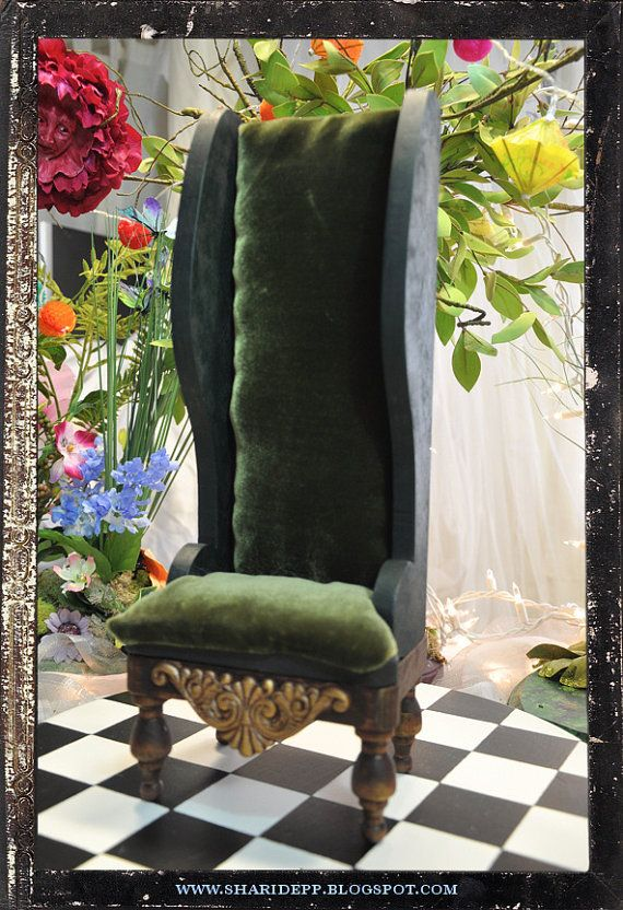 Handmade Wood And Upholstered Alice In Wonderland Mad Hatter Chair For 10  To 15 1/2 Dolls Made To Order By Shari Depp Designs Via Etsy