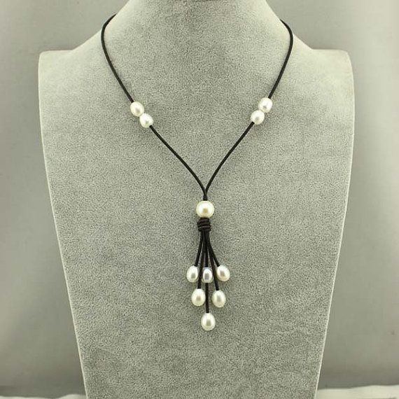 30% off Real pearl necklacepearl leather by WangDesignJewelry