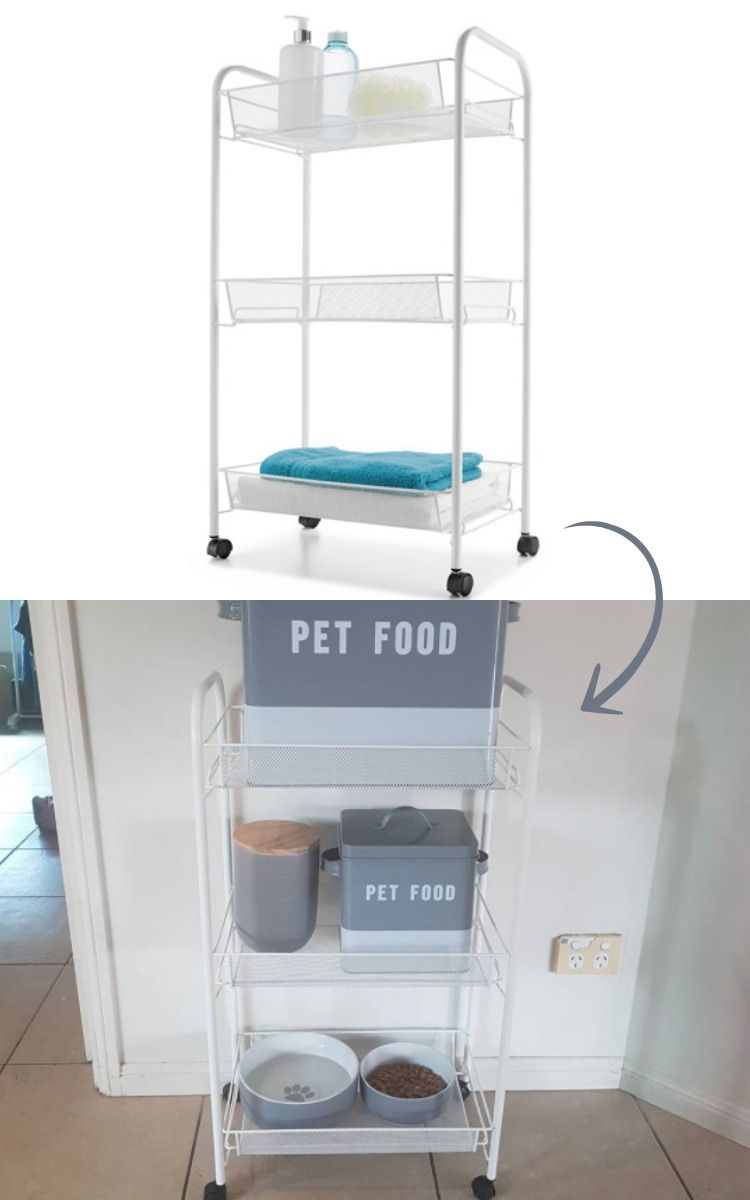 e561a88660a96 Such a practical and stylish way of organising pet products! Use a bathroom  caddy as