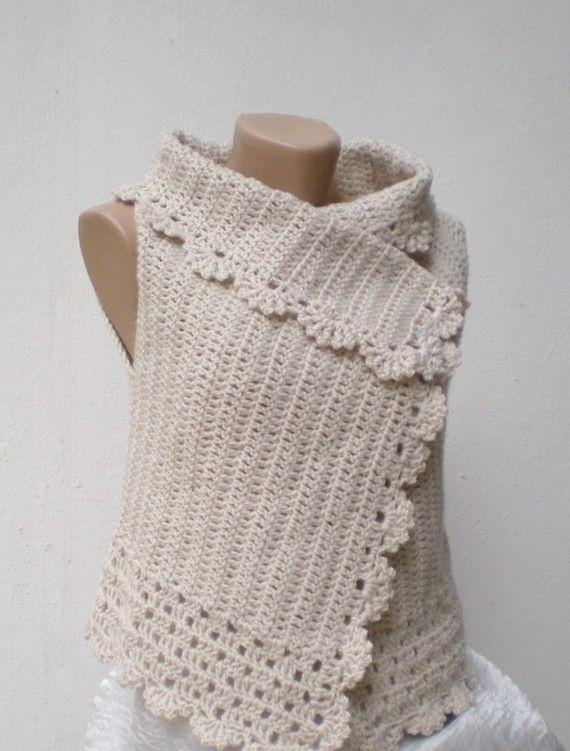 Crochet Vest , Champagne,off white, lambswool   blus crochet ...