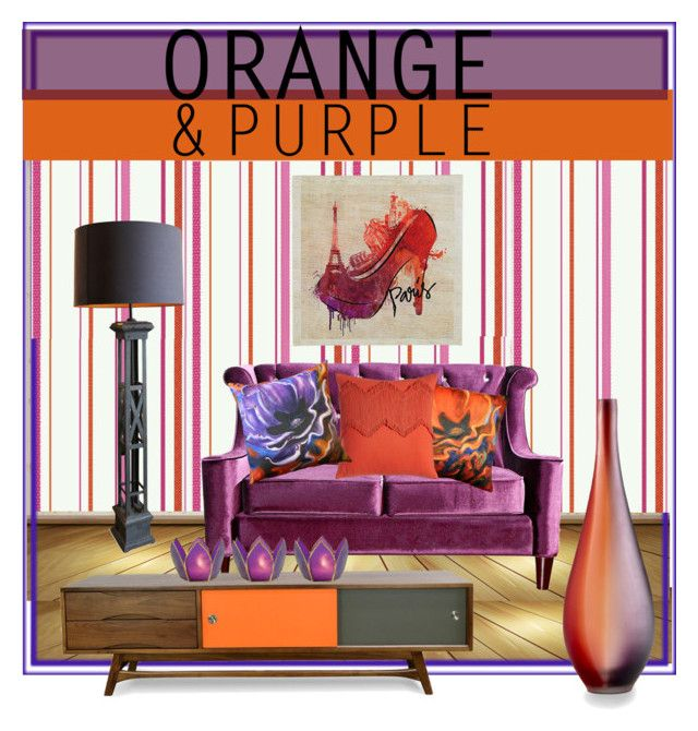 """Orange and Purple"" by shari-s ❤ liked on Polyvore featuring interior, interiors, interior design, home, home decor, interior decorating, York Wallcoverings, Universal Lighting and Decor, Pillow Decor and Blissliving Home"