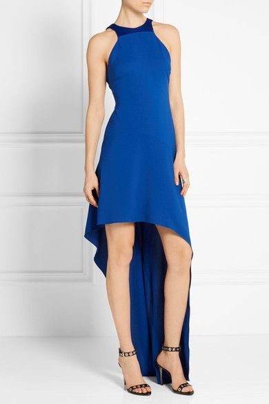 Halston Heritage - Asymmetric satin-paneled stretch-crepe gown