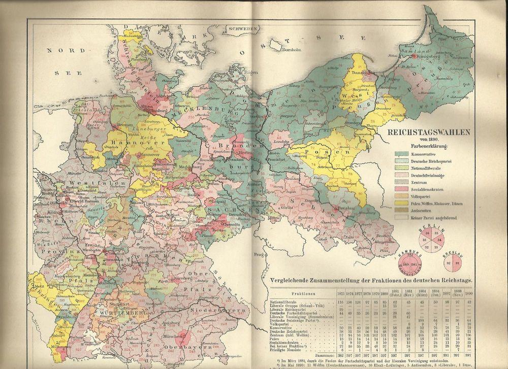 Deutsches Reich Karte.Details Zu 1890 Reichstagswahlen Deutsches Reich Alte Karte Antique