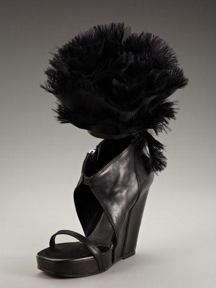 Ruffled Wedge Sandal by Rick Owens on Gilt.com  Seriously, who would really wear these?!! HaHa