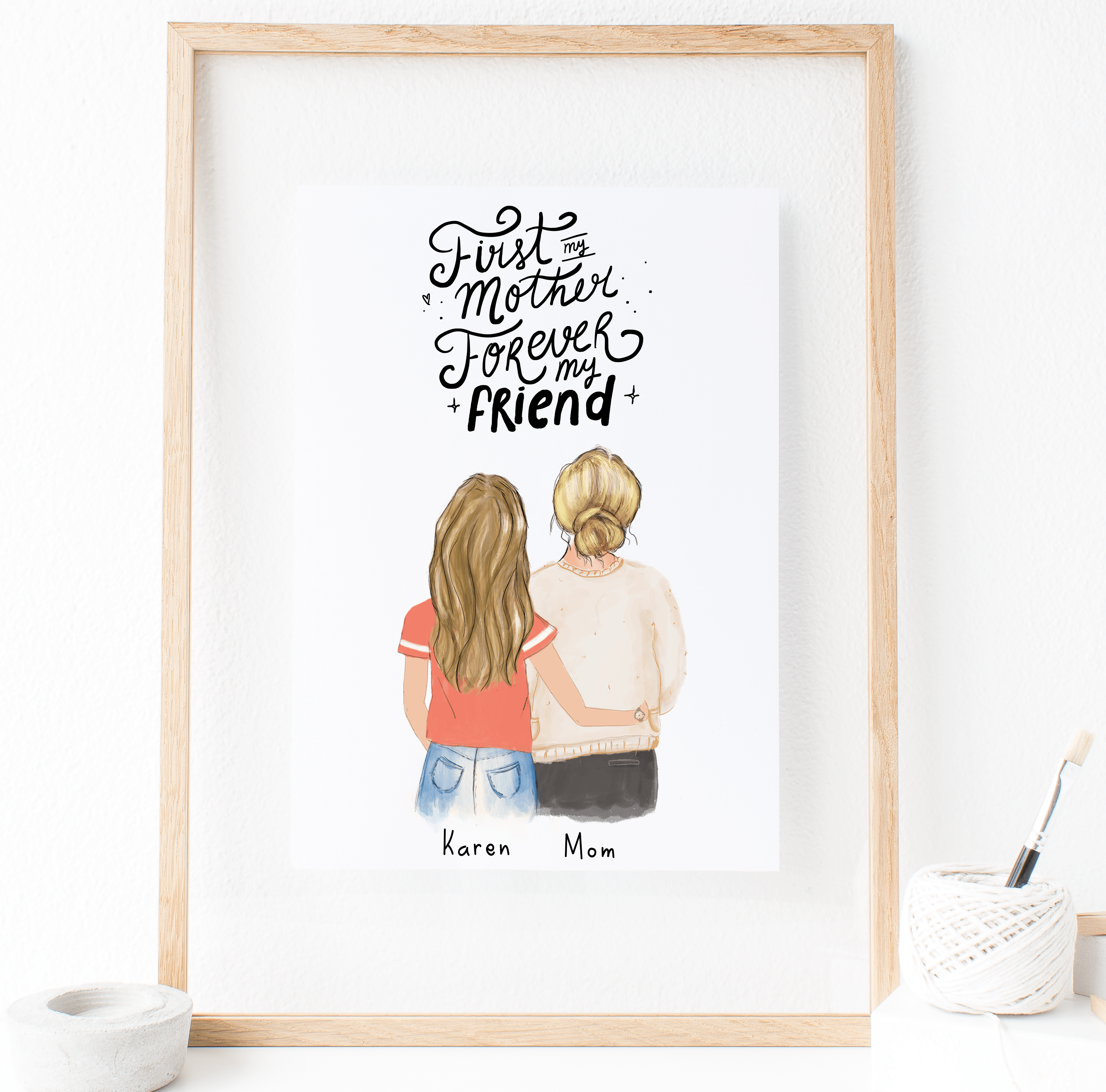 Mother And Daughter Print Art 2020 Mother And Daughter Drawing Friendship Wall Art Mom Art