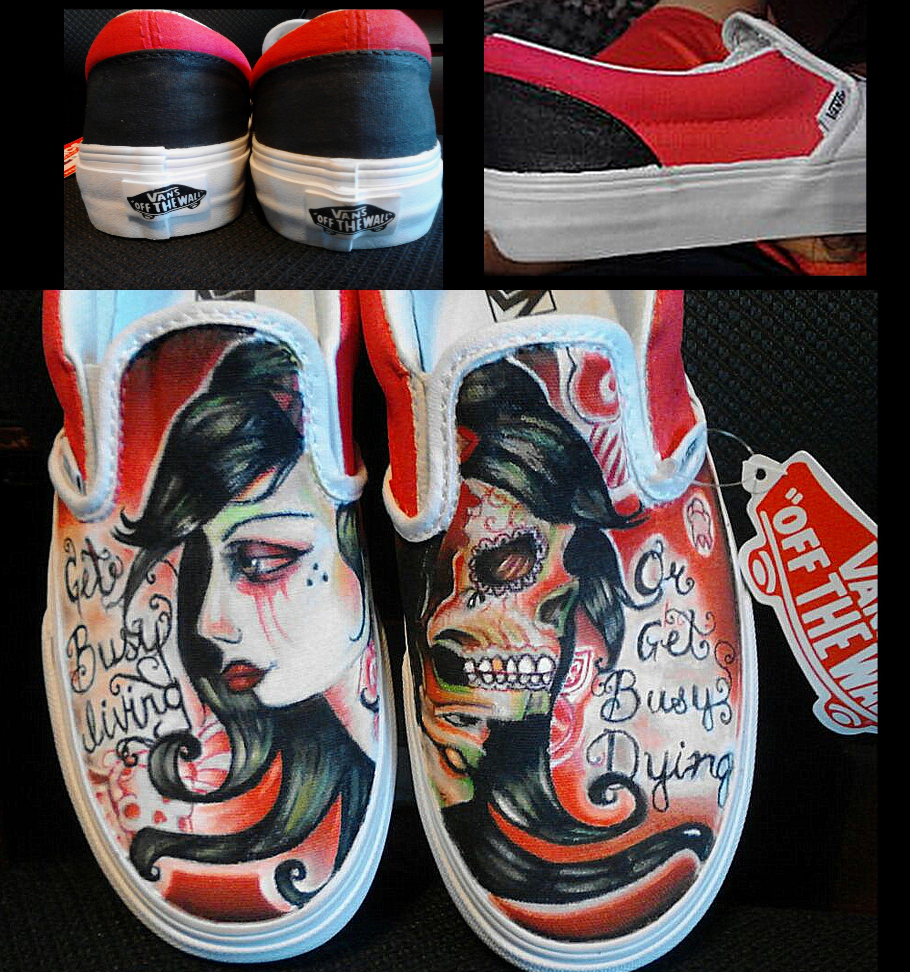 0b2ef4f556 My hand painted red and black theme girl and sugar skull shoes on Vans with