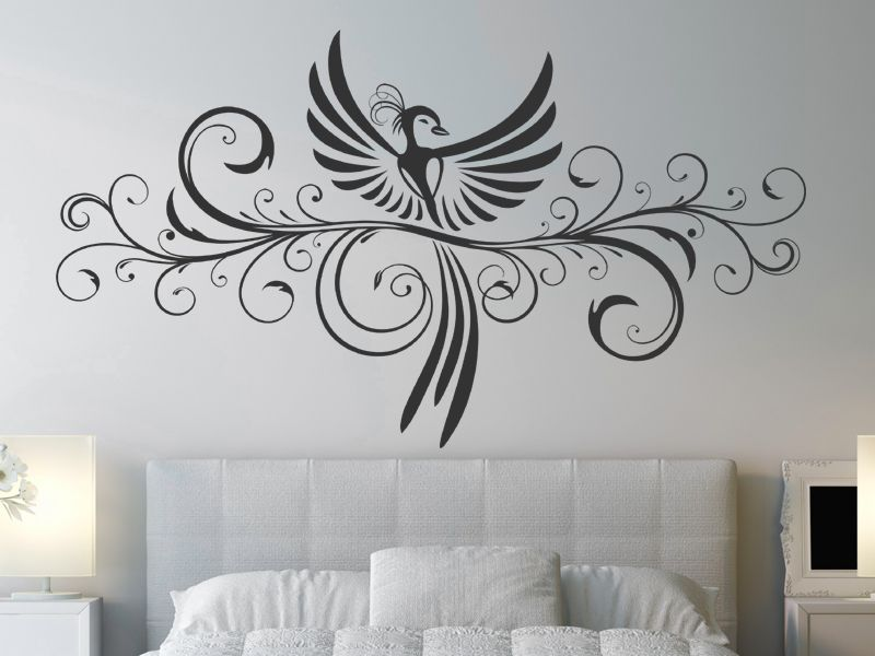 wandtattoo dekoratives ornament mit ph nix ph nix wandtattoo und wandbilder. Black Bedroom Furniture Sets. Home Design Ideas
