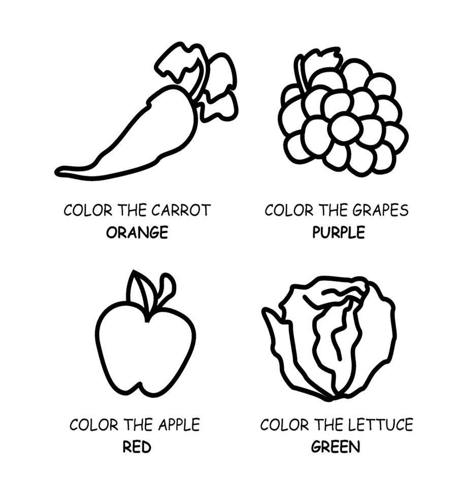 Healthy Food Fruit And Vegetables Coloring Page For Kids