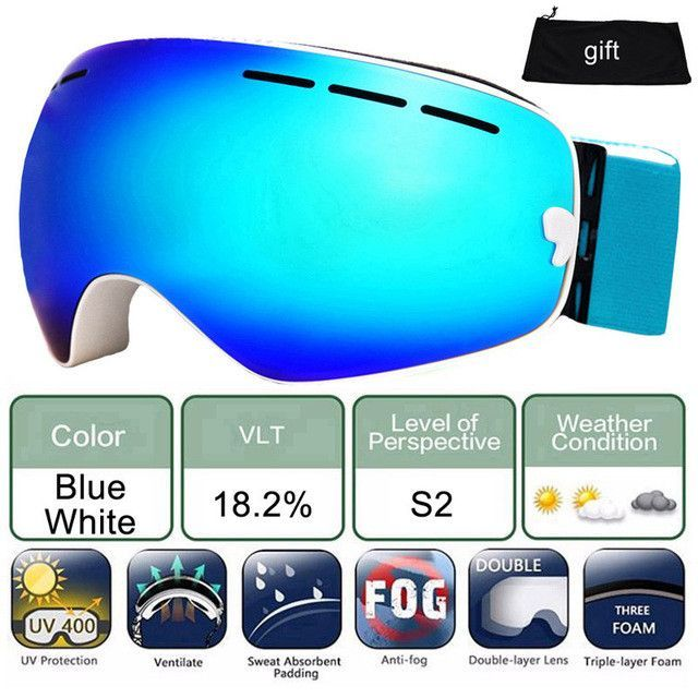 LOCLE Ski Glasses Double Lens UV 400 Anti-fog Ski Goggles Skiing Snowboard Motocross Goggles Big Ski Masks or Eyewear