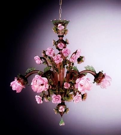 Pink rose chandelier 672677 find out more at httpwww enchantingly pretty and romantic italian chandeliers with pink roses and a soft brown murano glass available to buy at italian lighting centre with aloadofball Gallery