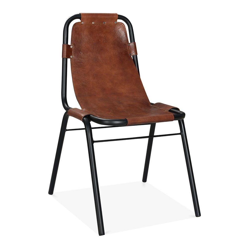 Cult Living Mercury Industrial Metal Side Chair, Genuine Leather, Brown
