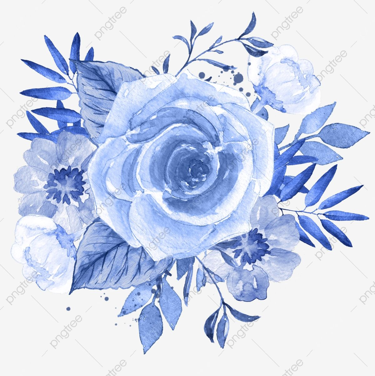 Blue Flower Png Picture Flower Clipart Watercolor Flowers