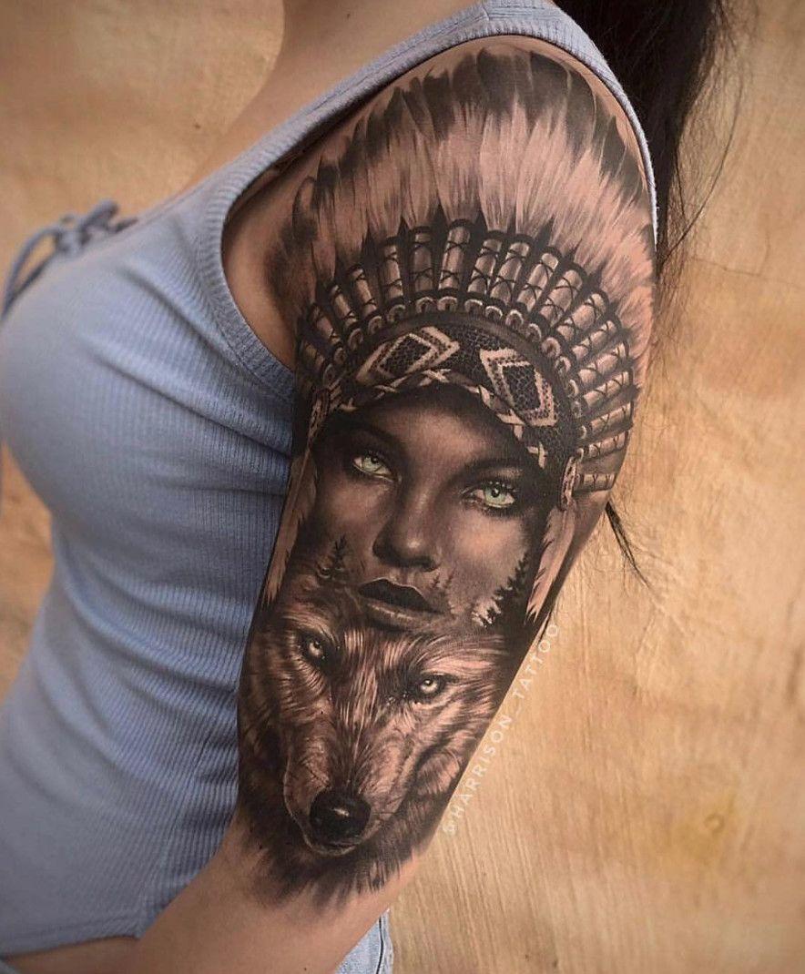 Native Wolf Tattoo With Glowing Eyes Tattoo Done By Minustattoo In Australia Www Otziapp Com Indian Girl Tattoos Wolf Tattoo Sleeve Native Tattoos