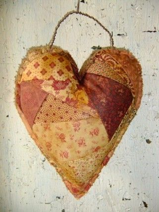 valentine heart crazy quilt hanger cottage shabby chic primitive french country decor reserved for liesel - Primitive Valentine Decor
