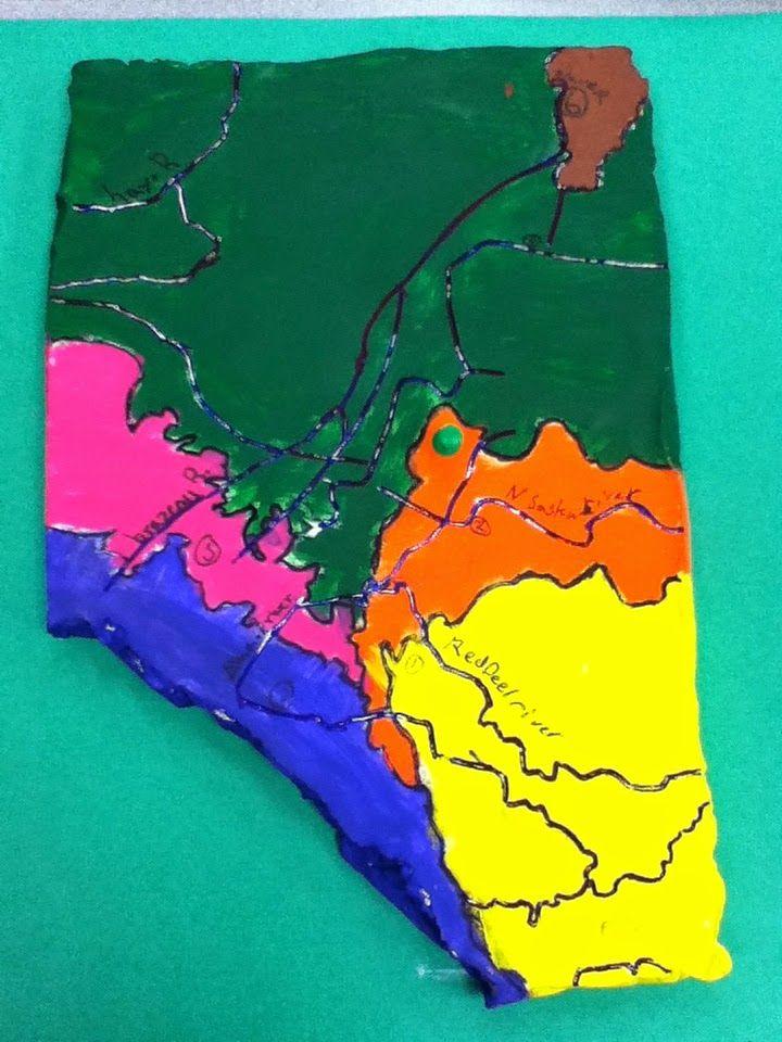 Alberta map work elementary art teaching grade social