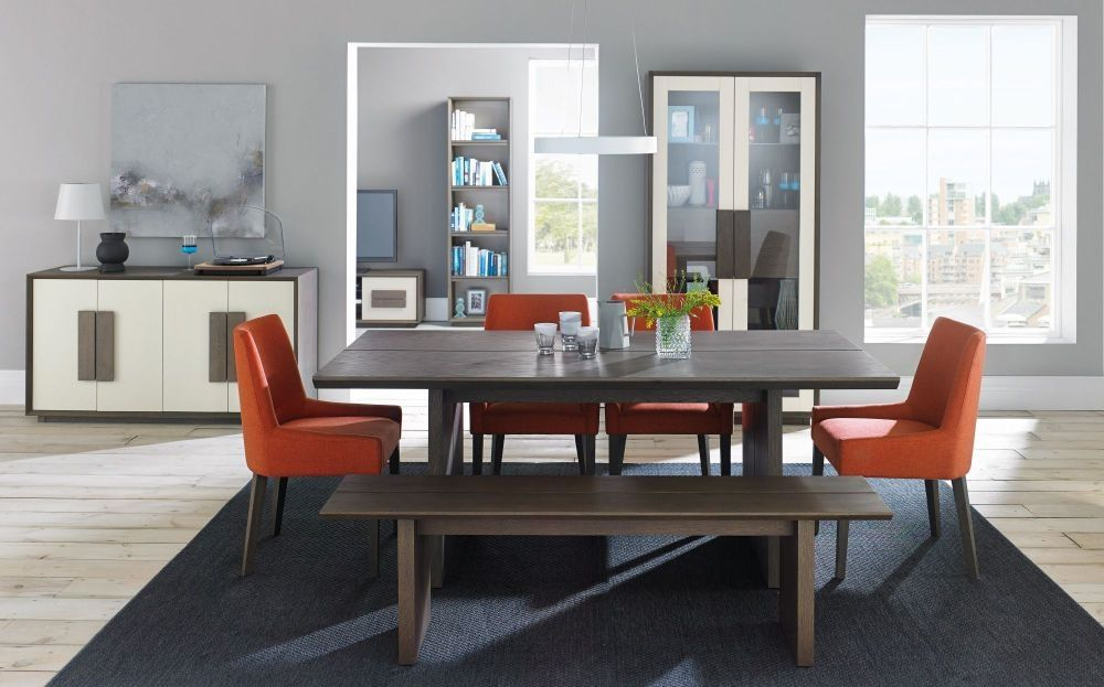 Buy Bentley Designs City Weathered Oak And Soft Grey Dining Set   Panel  Table With 4 Burnt Orange Scoop Back Chairs And Bench Online   CFS UK