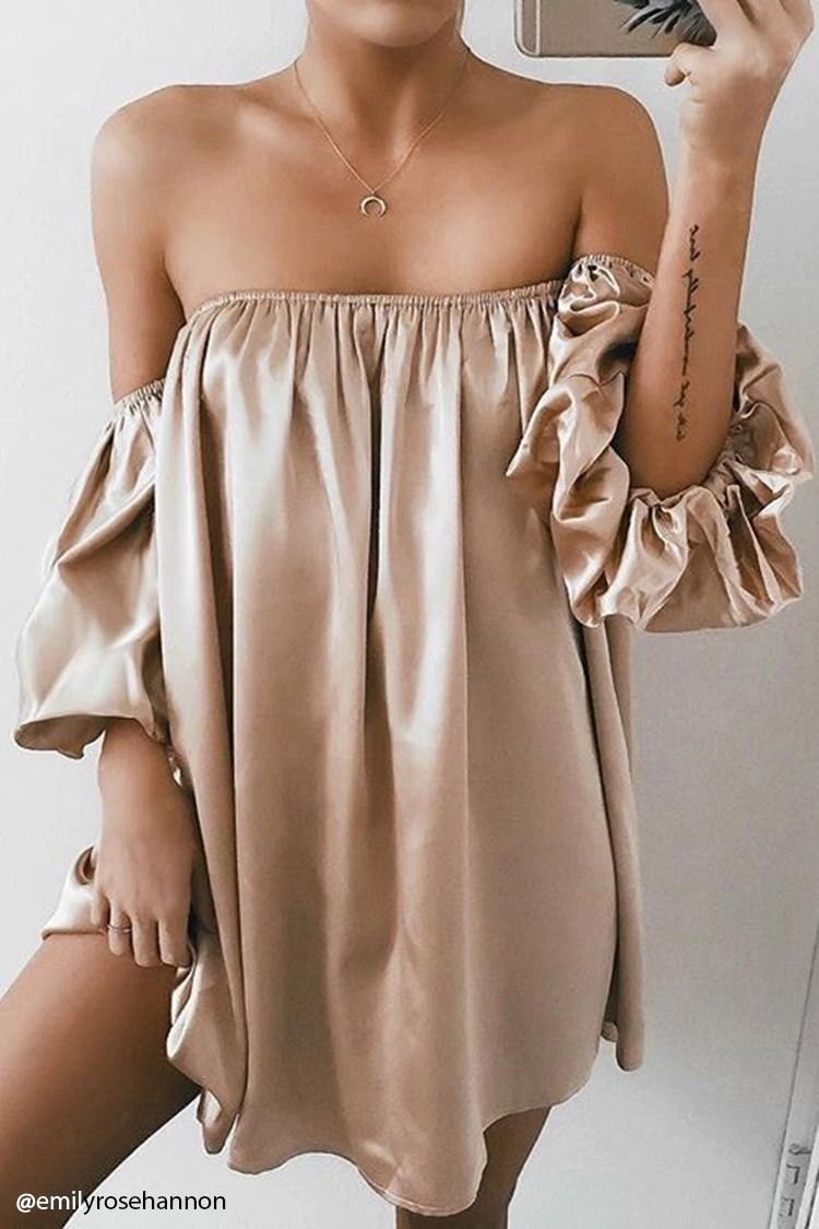a21657ecbfbe A satin mini dress featuring an elasticized off-the-shoulder neckline