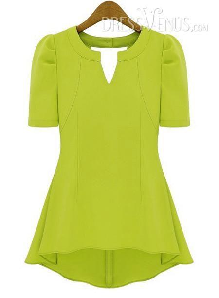 US$16.99 Elegant Short Sleeves Chiffon Lace  Blouse Base T-Shirt. #T-Shirts #Base #Sleeves #Short