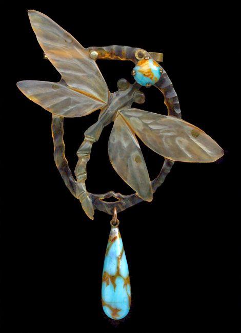 Elizabeth Bonte, Art Nouveau Dragonfly Brooch, Horn, French, c.1900