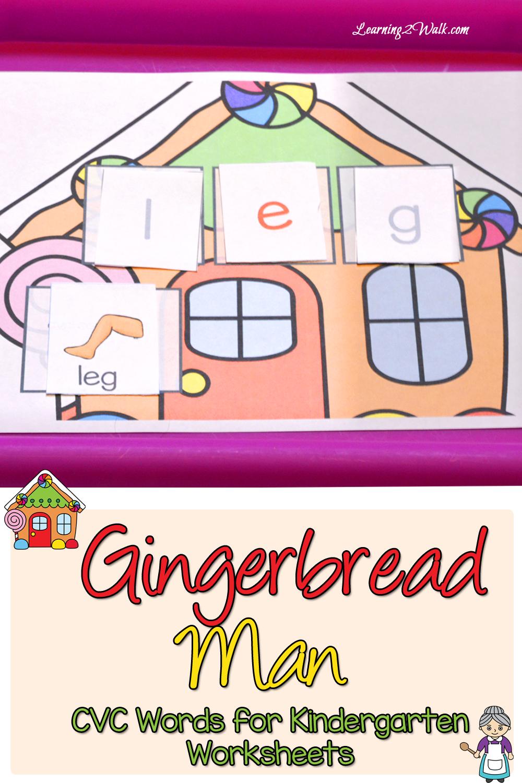 worksheet Cvc Word Worksheets gingerbread man cvc words for kindergarten worksheets worksheets