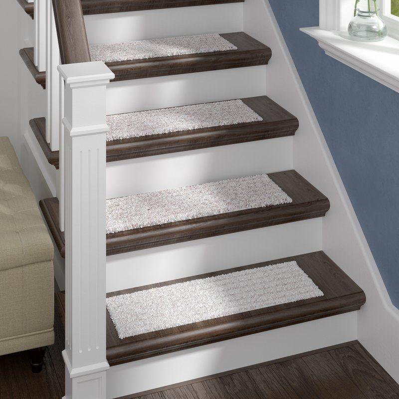 Berkine Natural Stair Tread Carpet Stairs Staircase Remodel | Wayfair Carpet Stair Treads | Tucker Murphy | Carpet Runners | Oaks Godinez | Stair Railing | Beige Carpet