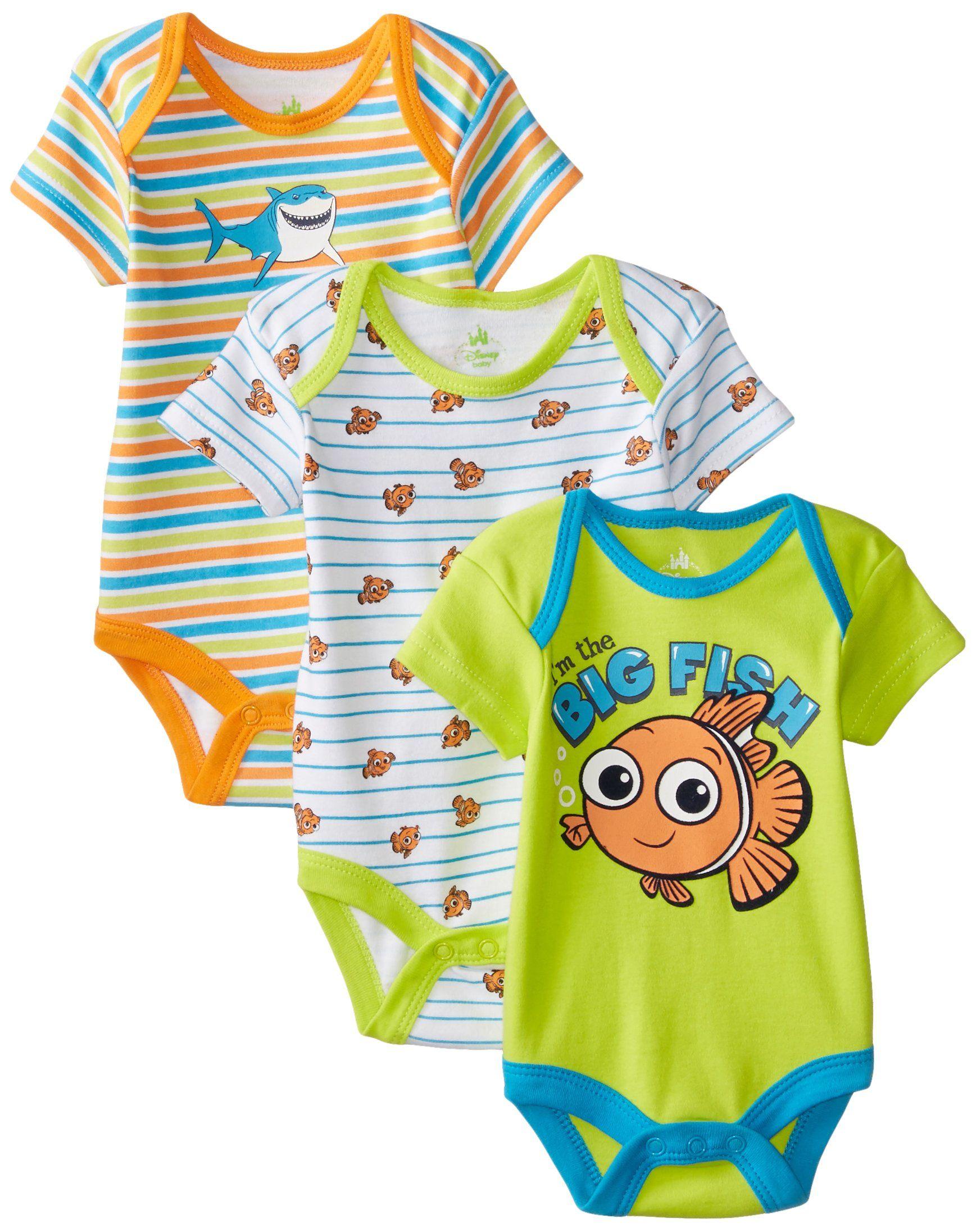 Disney Baby Boys Nemo 3 Pack Bodysuit Multi 6 Months