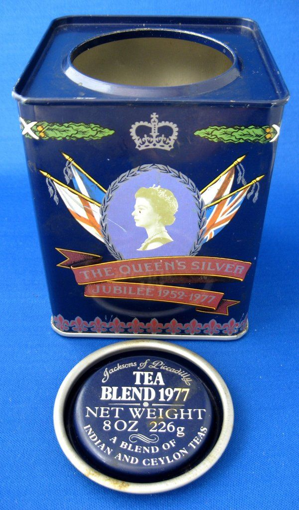 Tea Tin Queen Elizabeth II Silver Jubilee Jackson's of Piccadilly Souvenir Tea Canister