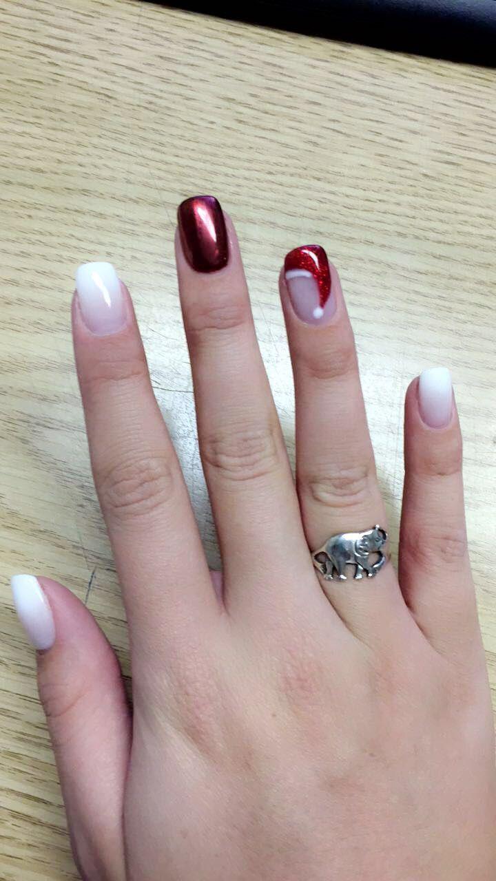 Winter nails Christmas nails Holiday nails Red Chrome nail Santa hat ...