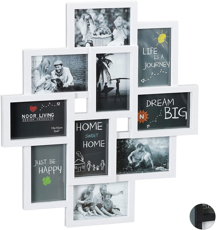 Relaxdays Bilderrahmen Collagen, für 10 Bilder, Hoch-oder Querformat, Wand Kunststoffrahmen, H x B 55 x 50 cm, weiß Farbe:Weiß