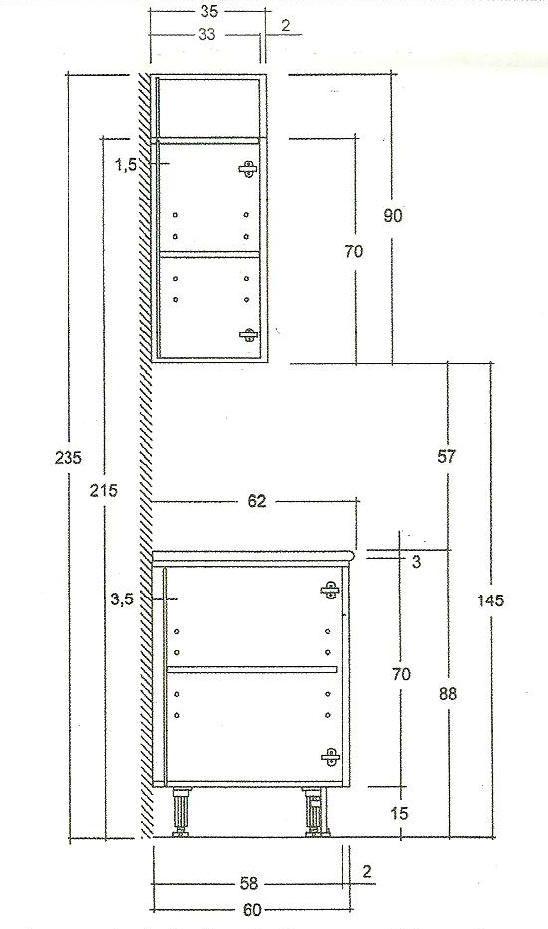 Las medidas de los muebles de cocina kitchens interiors for Modulos muebles cocina medidas