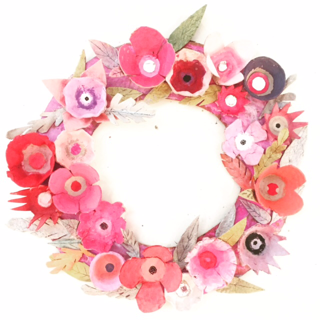 Photo of Egg Carton Flower Wreath — ART CAMP