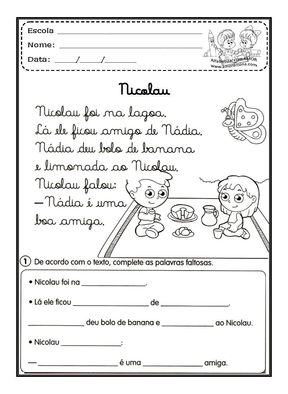 Textos Em Letra Cursiva Atividades Com Imagens Atividades