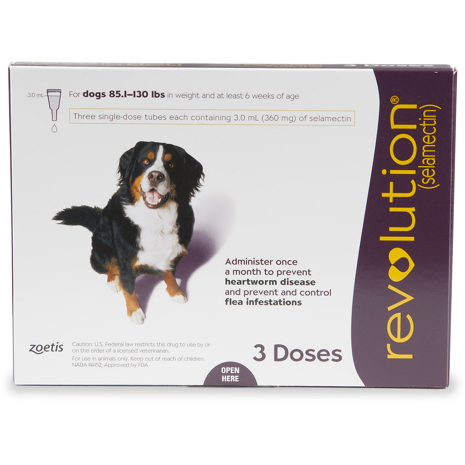 Revolution Topical Solution For Dogs 85 130 Lbs Plum 3 Pack Topical Dog Medicine Flea Infestation