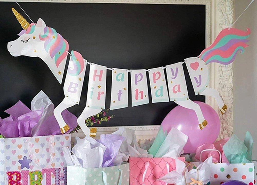 unicorn birthday party supplies pastel decorations, unicorn party decorations
