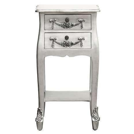 toulouse silver 2 drawer bedside table bedroom. Black Bedroom Furniture Sets. Home Design Ideas